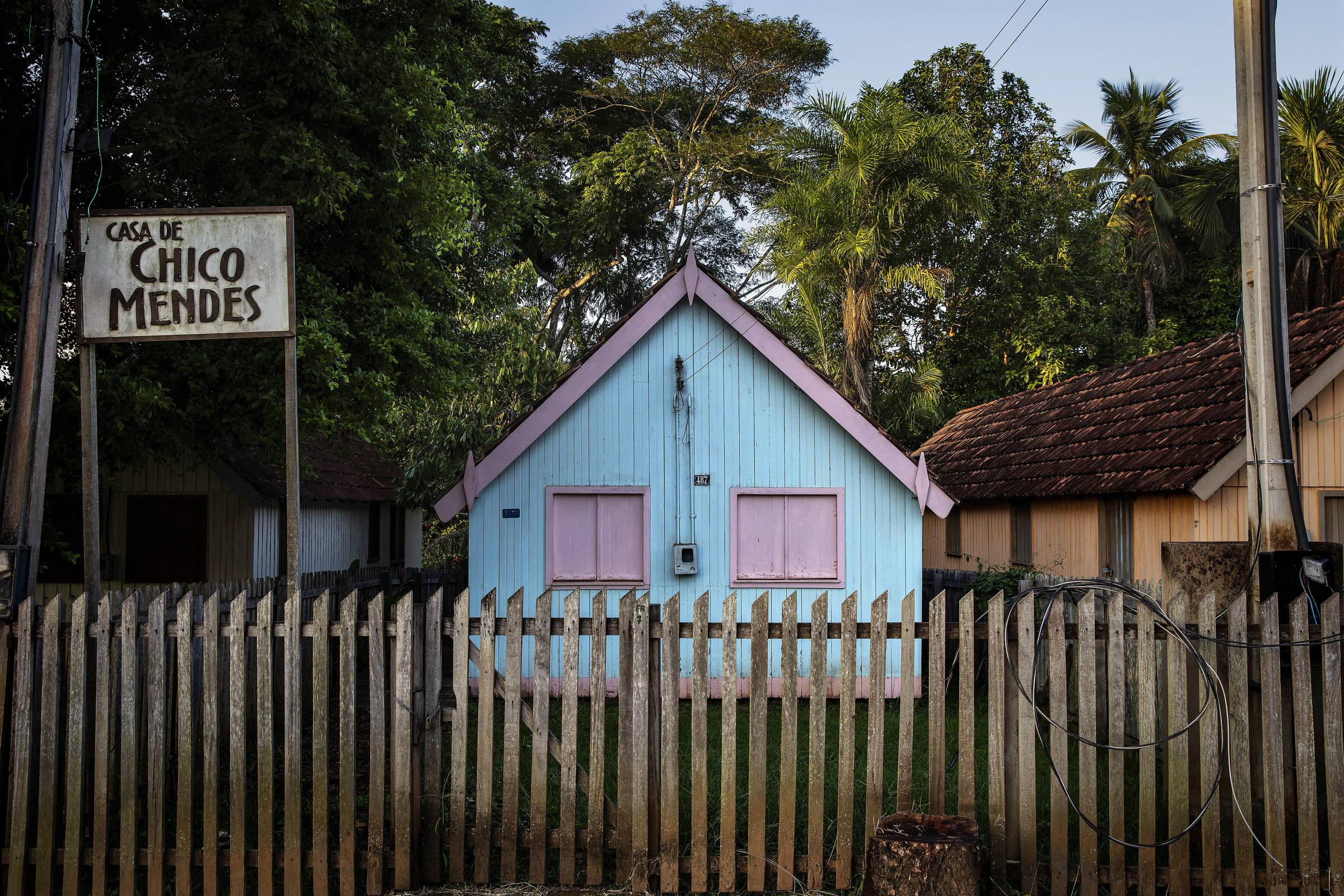 Casa de Chico Mendes em Xapuri (AC), onde ele foi assassinado em 1988;o local funcionava como um museu, mas estava fechado para visitação por falta de verba do governo estadual