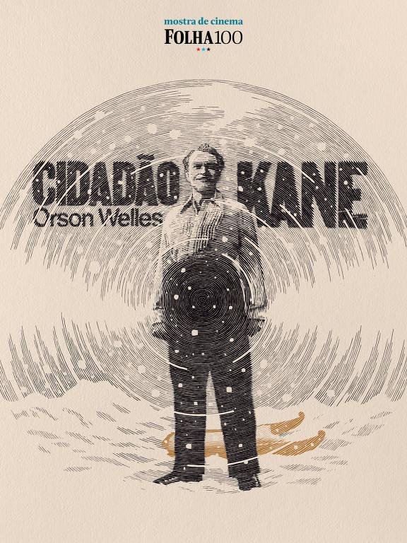 Cartaz de cinema do filme Cidadão Kane. No cartaz, Orson Welles (senhor de meia idade com calça preta cintura alta, camisa branca para dentro da calça e sapatos pretos), atrás um trenó de neve amarelo e escrito Cidadão Kane na altura da cabeça