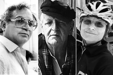 O fotógrafo Fernando Santos, na Editoria de Fotografia da Folha de S.Paulo, em São Paulo (SP). (Foto: Rubens Mano/Folhapress. Negativo: 04284/1988)----O fotógrafo Gil Passarelli, que flagrou o conflito entre estudantes em 1968, cuja foto lhe rendeu o prêmio Esso de Fotografia em 1968.-----Renata Falzoni, ciclista profissional  que percorreu a ciclovia com a reportagem do Agora, mostra semaforo sem parasol no largo do Arouche. Foto: Robson Ventura/ Folhapress