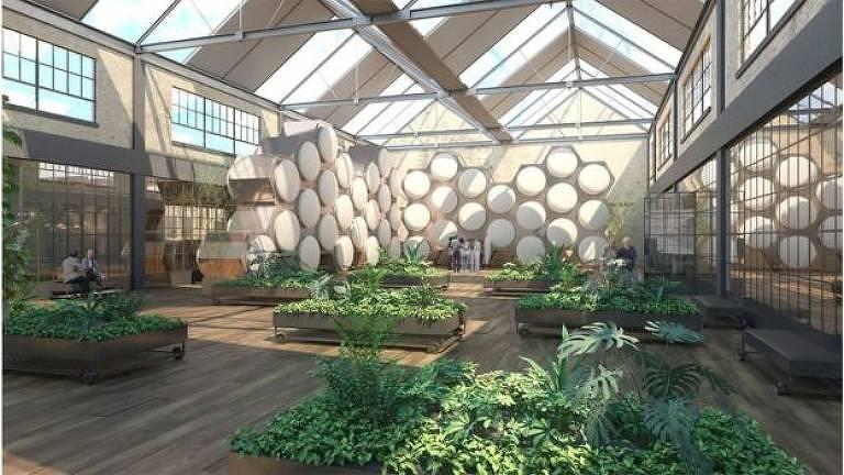 Visão artística de um futuro centro de compostagem humana