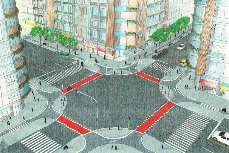Desenho de como deve ser novo bairro planejado em Brasília