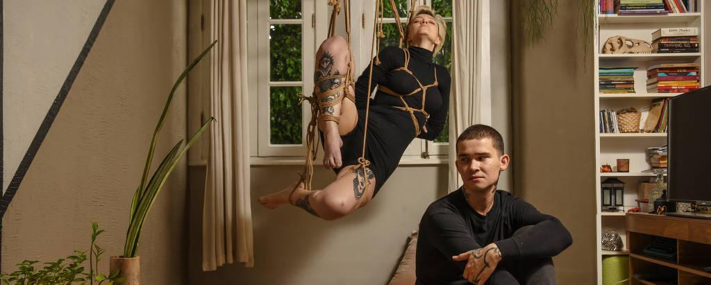 Amauri Filho e sua companheira Aileen Rosik. Ele é shibarista, prática japonesa sexual de amarrar o parceiro