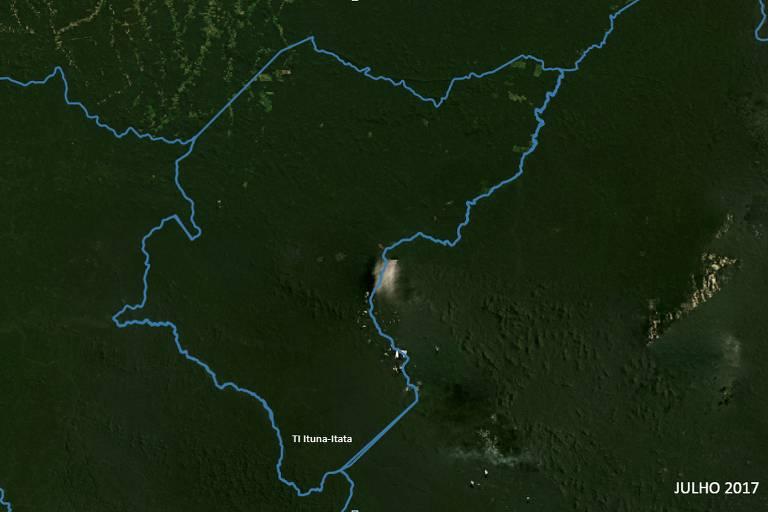 Mapa mostra área da terra indígena totalmente verde