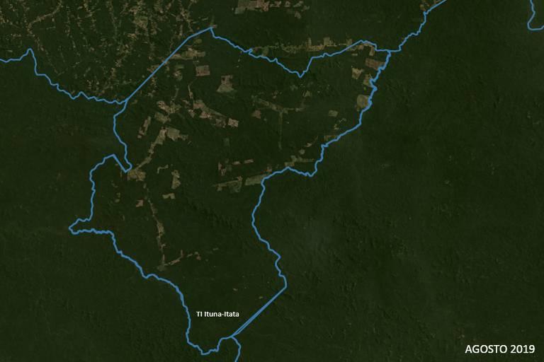 Mapa mostra grande avanço do desmatamento no interior da terra indígena