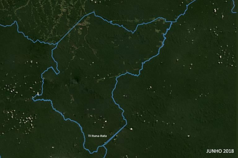Mapa mostra já alguns pontos de desmatamento