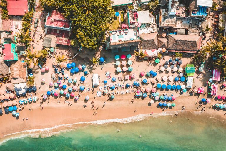 Praia de Sayulita, no povoado de mesmo nome, localizada na Riviera Nayarit, México