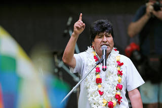 FILE PHOTO: Bolivia's former President Evo Morales attends a celebration of Bolivia's Plurinational State Foundation Day, in Buenos Aires