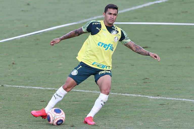 Dudu treina no gramado sintético do Allianz Parque; após suspensão, o atacante volta ao Palmeiras para enfrentar o Guarani, pelo Paulistão