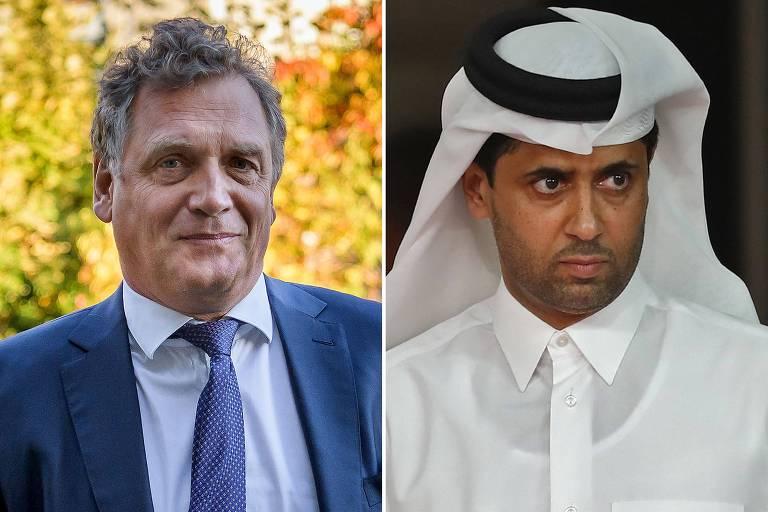 Valcke, ex-secretário-geral da Fifa, e Nasser Al-Khelaifi, presidente do PSG