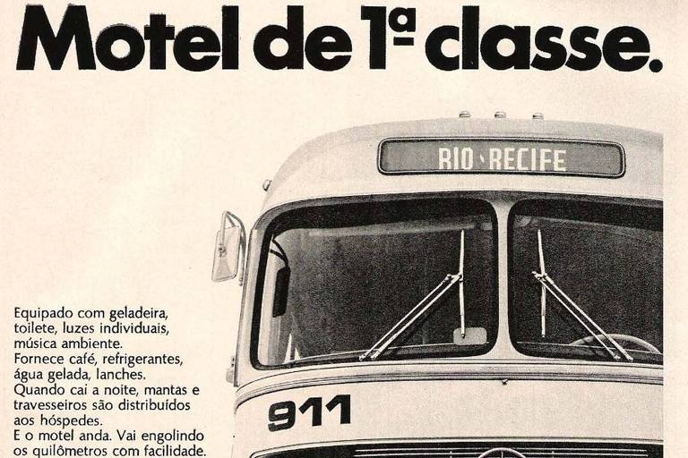 Anúncio antigo da Itapemirim, da década de 1970, diz que seus ônibus são como motel de primeira classe