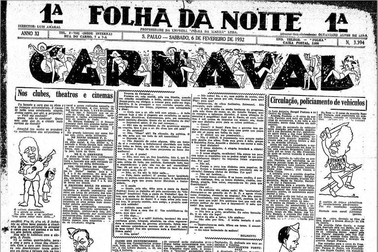 Reprodução da capa da Folha da Noite, com letras garrafais CARNAVAL