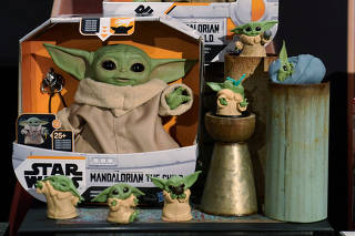 Baby Yoda toys are pictured during a