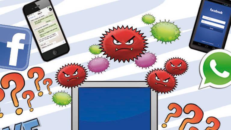 Ilustração mostra computador e celulares sendo atacados