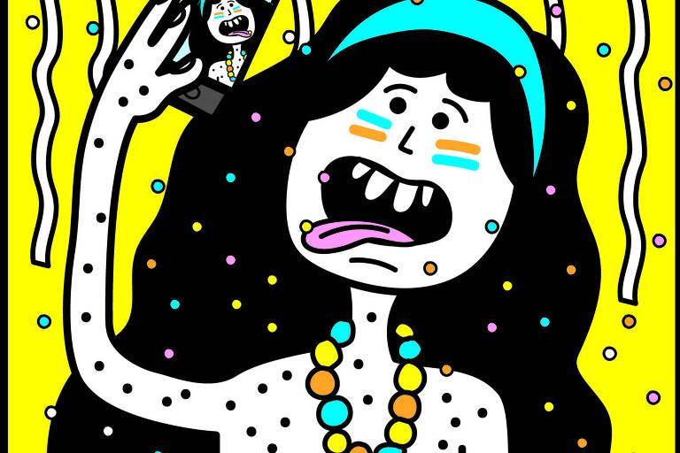Ilustração mostra um corpo de folião dividido em 3 cenas horizontais: a cabeça aparece tirando uma selfie; o corpo, com vários apetrechos (relógio, câmera, telefone e máscara); e as pernas, cruzadas em forma do número quatro.