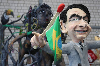 Preview of carnival floats for the world-known Cologne Rose Monday carnival parade in Cologne