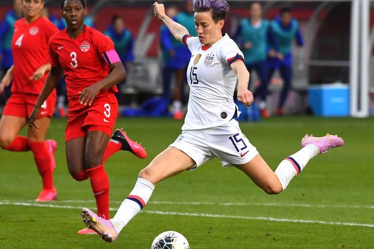 Megan Rapinoe em ação pela seleção americana de futebol