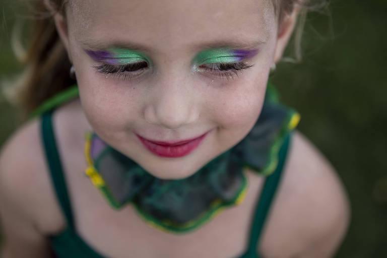 Carnaval em Serra Negra. A pequena Maria Luiza Sousa Siloto, 4 anos