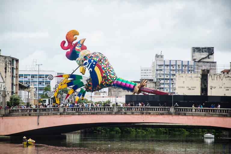 Galo gigante na ponte Duarte Coelho