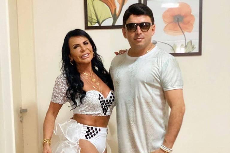 Gretchen e Esdras de Souza curtem sábado de Carnaval em São Paulo