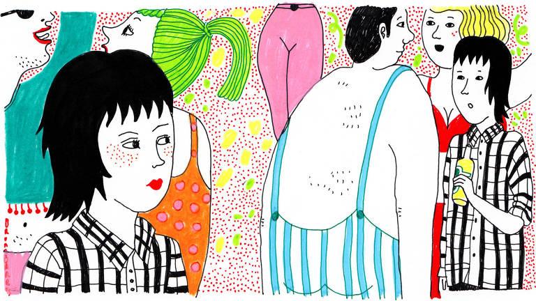 Ilustração colorida de pessoas no Carnaval. Na cena, garota observa as costas de outro folião. Outra pessoa olha para a cena segurando uma garrafa