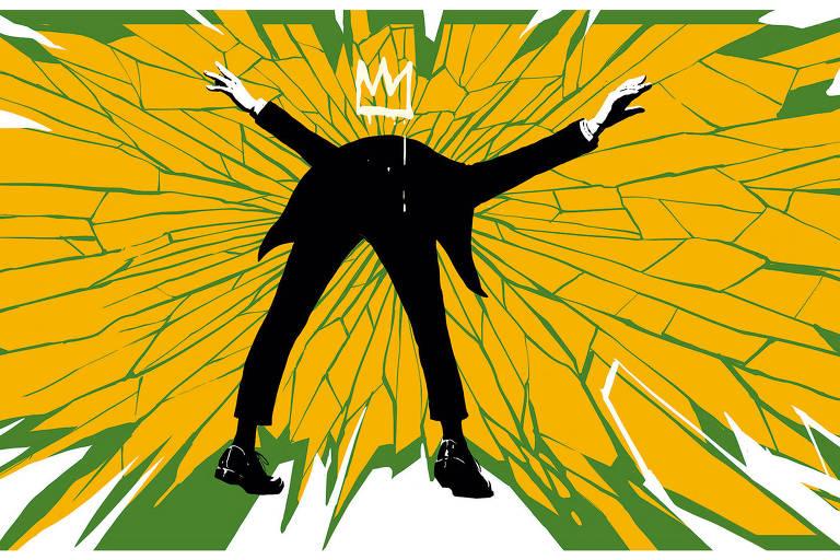 Ilustração de homem de costas com os braços para cima que está se inclinando para frente e enfiando a cabeça em uma superfície, semelhante a uma parede, que se distorce em direção ao centro. Essa superfície é verde e amarela com várias rachaduras.