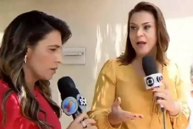 Repórteres se desentendem ao vivo durante reportagem