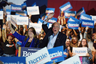 U.S. Democratic presidential candidate Senator Bernie Sanders celebrates after being declared the winner of the Nevada Caucus as he holds a campaign rally in San Antonio, Texas, U.S.