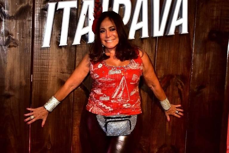Suzana Vieira no Camarote Itaipava, na Sapucaí