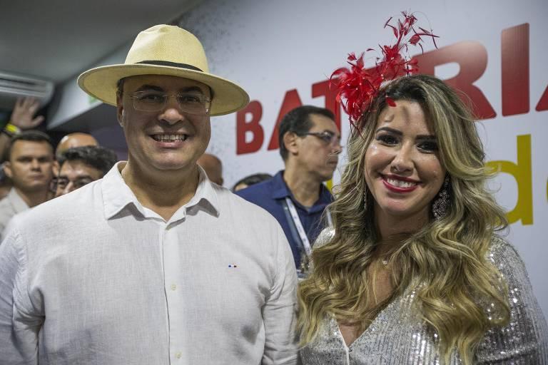 O governador do Rio, Wilson Witzel, e sua mulher, Helena, no Carnaval deste ano