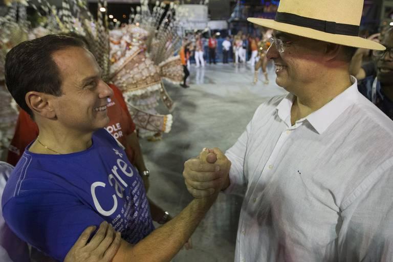 Os governadores João Doria e Wilson Witzel durante o Carnaval do Rio deste ano