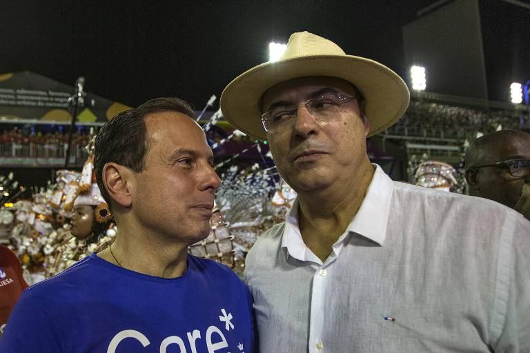 Os governadores João Doria (PSDB) e Wilson Witzel (PSC), no Carnaval do Rio