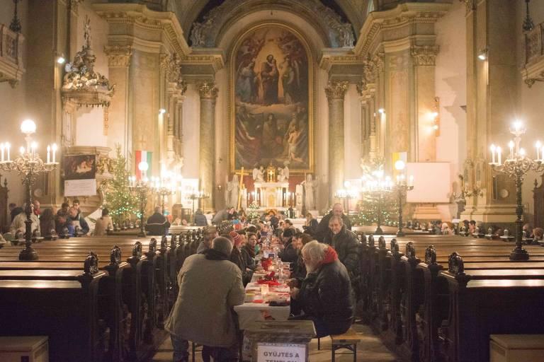 Igreja onde teve um almoço entre refugiados, em Budapeste