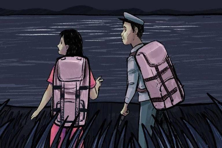 Jeon e Kim atravessaram o rio em direção à China