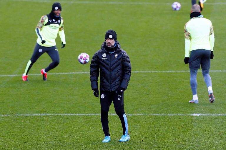 Manchester City treina na véspera de duelo contra o Real Madrid, pela Champions League