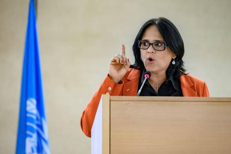 A ministra Damares Alves em seu discurso no Conselho de Direitos Humanos da ONU, em Genebra