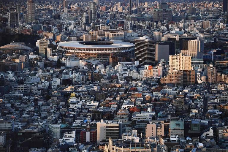 Visão aérea do novo estádio de Tóquio, que será a principal arena da Olimpíada deste ano