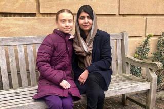 Swedish environmental activist Greta Thunberg meets Nobel Peace Prize winner Malala Yousafzai at University of Oxford