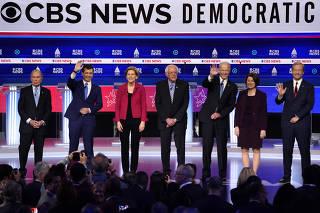 Democratic 2020 U.S. presidential candidates take the stage for the tenth Democratic 2020 presidential debate at the Gaillard Center in Charleston, South Carolina, U.S. February 25, 2020.