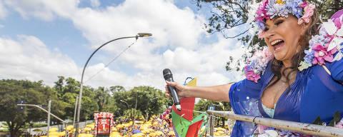 Sao Paulo, SP, BRASIL, 25-02-2020:  Carnaval em Sao Paulo .Blocos de rua.  Cantora Fafa de Belem canta para folies em um dos carros do tradicional Bloco Galo da Madrugada (de Recife) durante  desfile na av Pedro ALvares de Cabral, no Ibirapuera (Foto: Eduardo Knapp/Folhapress, COTIDIANO).
