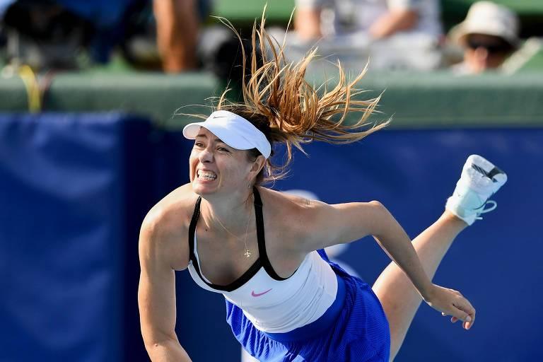 Maria Sharapova num dos últimos jogos da carreira, no torneio Kooyong Classic, em Melbourne