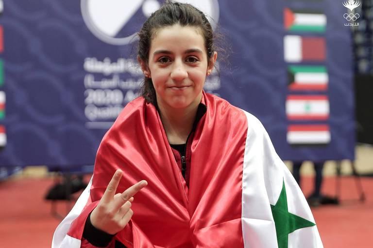 A mesa-tenista síria, Hend Zaza, 11, após garantir sua vaga nos Jogos Olímpicos de Tóquio