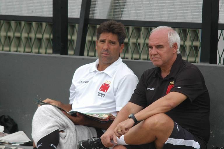 Renato Gaúcho e Valdir Espinosa, técnico e coordenador, respectivamente, do Vasco, no ano de 2007