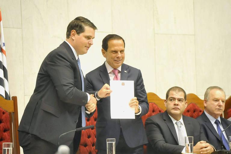 O governador João Doria (PSDB) e o presidente da Assembleia Legislativa de São Paulo, Cauê Macris (PSDB)