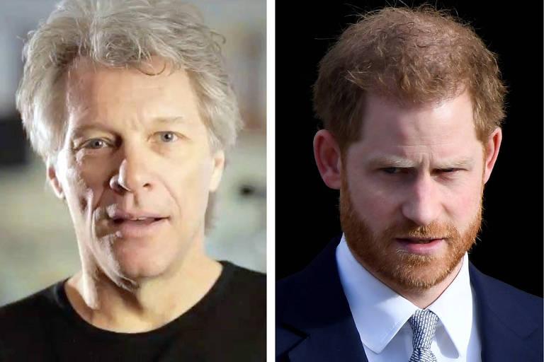 Cantor Jon Bon Jovi (à esq.) e príncipe Harry (à dir.)