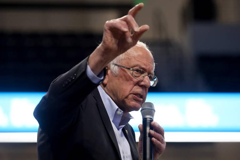 Bernie Sanders em campanha nas primárias democratas