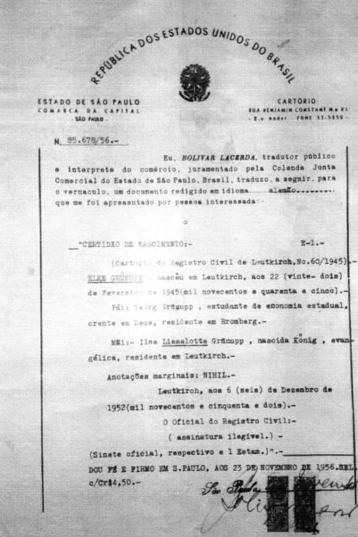 Cópia de tradução da certidão de nascimento de Elke Maravilha