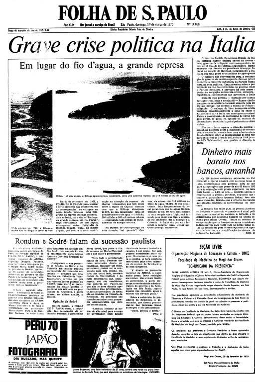 Primeira página da Folha de S.Paulo de 1º de março de 1970