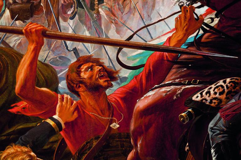 """Detalhe da pintura """"A Batalha do Avaí"""", de Pedro Américo, sobre uma batalha da Guerra do Paraguai"""