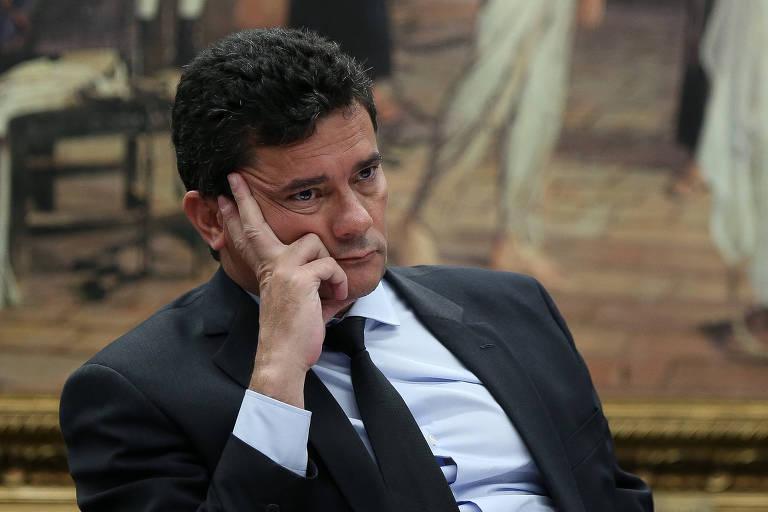 O ministro Sergio Moro (Justiça) durante audiência pública na CCJ da Câmara