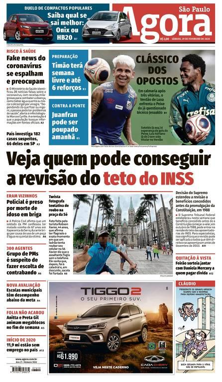 Capa do Agora São Paulo de 29 de fevereiro de 2020